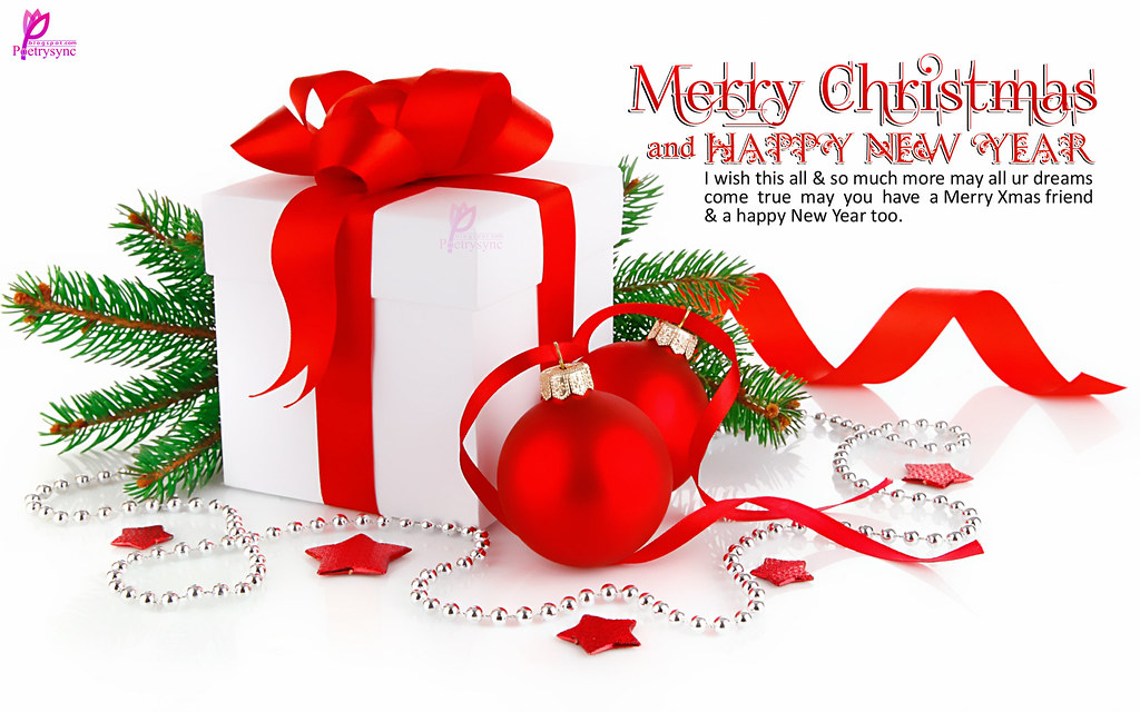 Christmas Gifts With Merry Xmas And Happy New Year Wishes