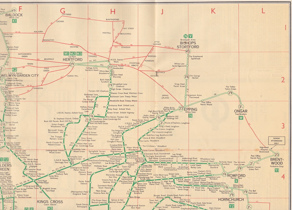 Map Of North East London.London Transport Green Line Coach Services Map 1936 7 N Flickr