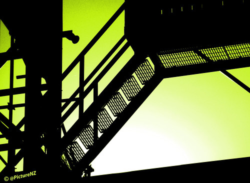 light white black green silhouette steps staircase scaffold