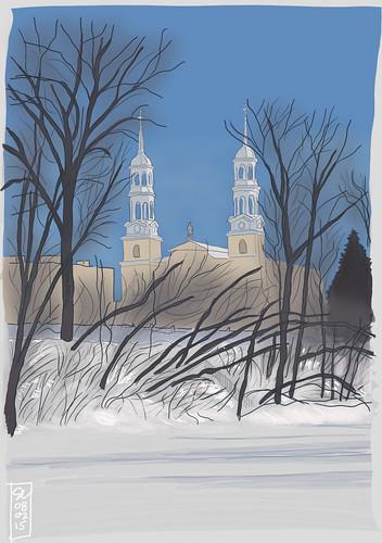 winter snow church drawing hiver dessin neige église steustache digitaldrawing sainteustache