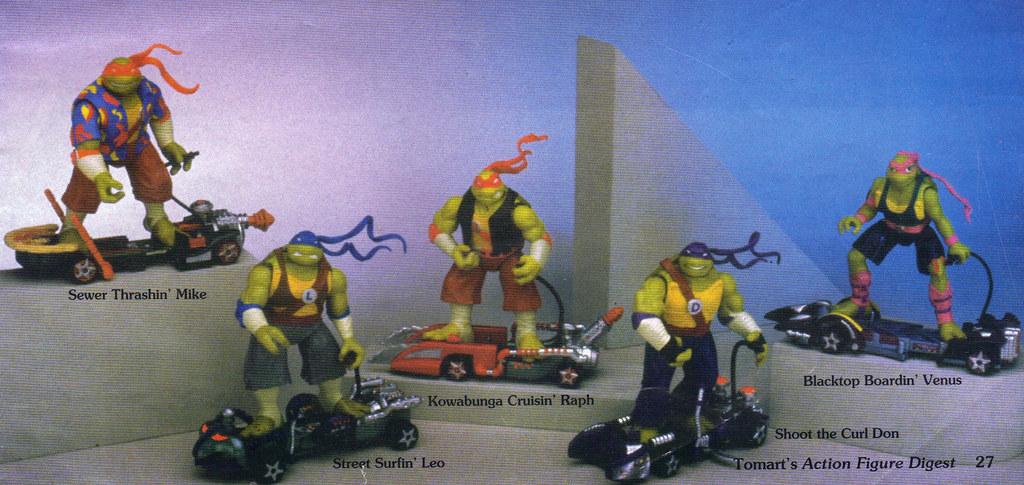 "Tomart's Action Figure Digest #xx :: pgs.26, 27 TOY FAIR '97, PLAYMATES ""NINJA TURTLES: THE NEXT MUTATION / ..early 'THUNDER THRASHERS' asst.  (( April 1997 )) by tOkKa"