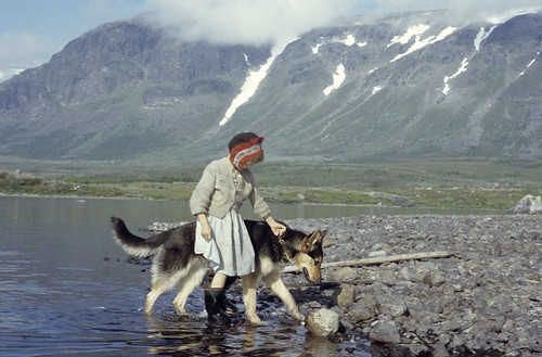 Girl and dog, Satisjaure (Satihaure), Gällivare, Lappland, Sweden