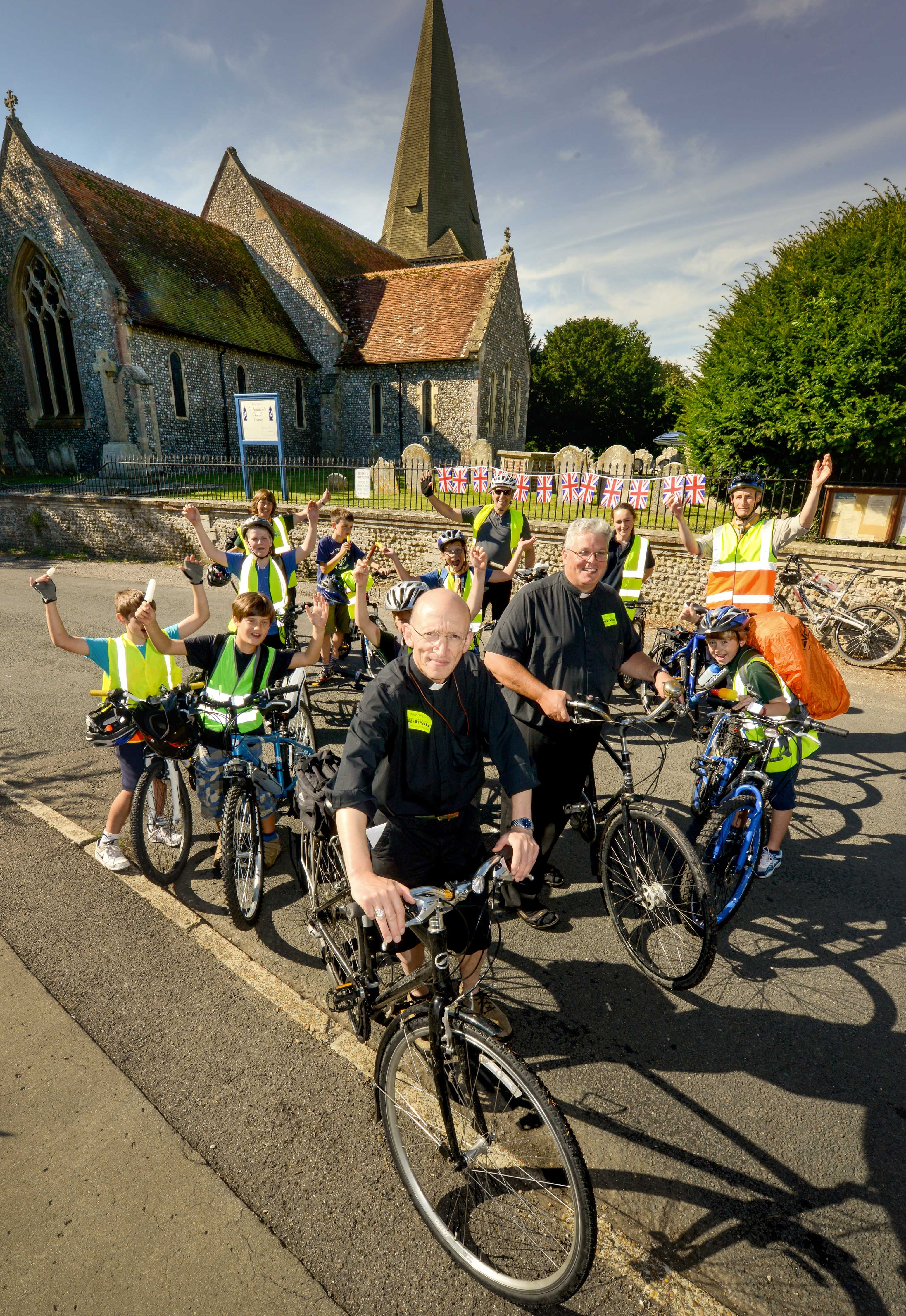 Bishop of Chichester Dr. Martin Warner and his Ride+Stride team setting off in 2012