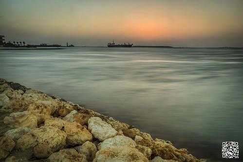 longexposure sunset water evening bahrain rocks ship dusk manama muharraq amwaj