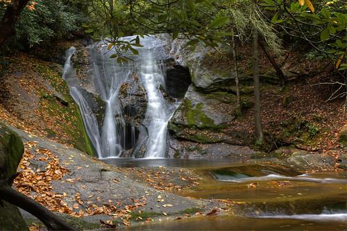 longexposure autumn trees fall nature leaves rock waterfall nc rocks northcarolina naturephotography wilkescounty alleghenycounty stonemountainstatepark waterfallphotography davidhopkinsphotography