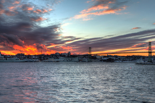 sunset sky canada fire novascotia ns halifax dartmouth hdr halifaxharbour 2013 mackaybridge alderneylanding flickr12days