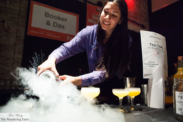 Pouring the liquid nitrogen at Booker & Dax