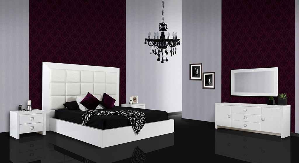 Modern Lacquer Bedroom furniture in White color - VGUNAA21 ...