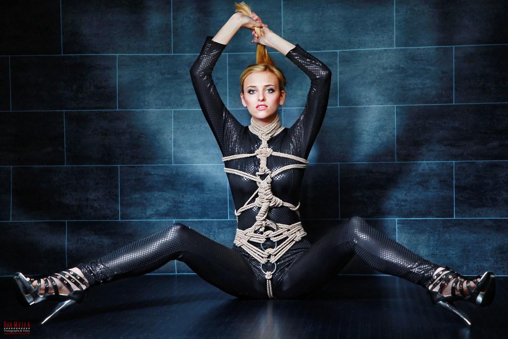 Tied in Black Catsuit - Fine Art of Bondage | Tied girl in