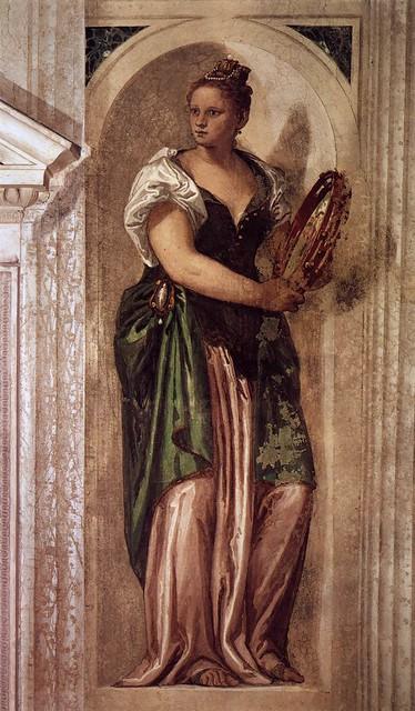 Paolo Veronese, Villa Barbaro, Maser, Muse mit einem Tamburin (Muse with a Tambourine)