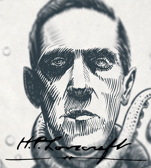 Ink portrait of H.P. Lovecraft