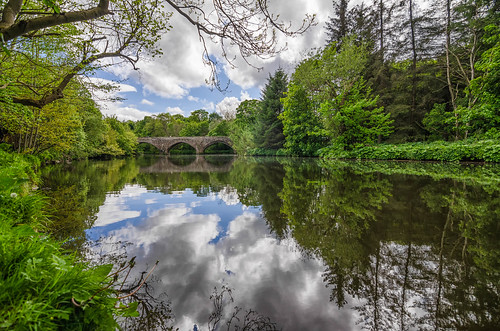 bridge blue sky green water clouds reflections river scotland nikon edinburgh outdoor almond h2o brig cramond d7000