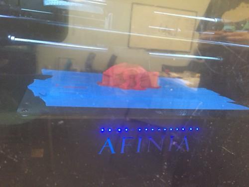 Dinosaur being 3-D printed