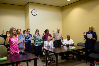 New volunteers taking the oath from Chief Judge Jonathan Sjostrom during the June 17, 2016 swearing in ceremony at the Leon County Courthouse in Tallahassee, Florida. | by flguardian2