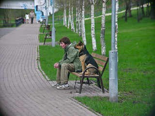 A boy and his dog | by Dmitry Djouce