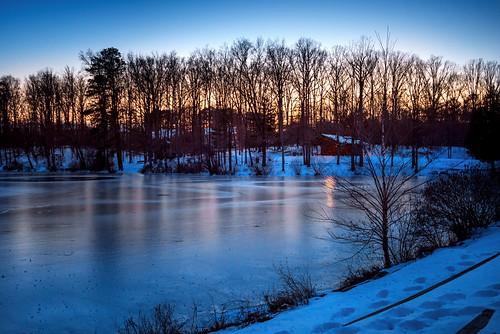 winter cold evening frozen twilight dusk