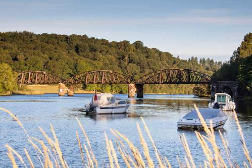 bridge camping trees water boats scotland scenery lochken 50d 2013