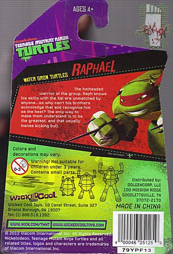 WICKED COOL TOYS :: Nickelodeon TEENAGE MUTANT NINJA TURTLES; 'WATER GROW TURTLES' - RAPHAEL iii // ..card backer  (( 2013 )) by tOkKa