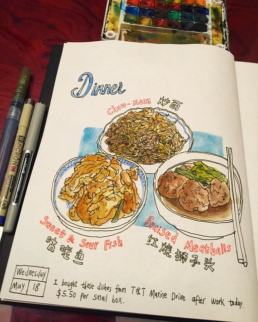 Treated myself with take-out dinner from T&T Chinese Supermarket. 😛 Chow-Mein, sweet and sour fish, and braised meatballs. 🎨📒 #caobeckysketch