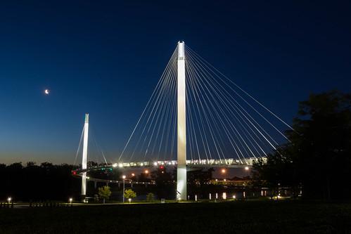 morning bridge blue sky moon grass sunrise river us nebraska unitedstates omaha walkingbridge 2016