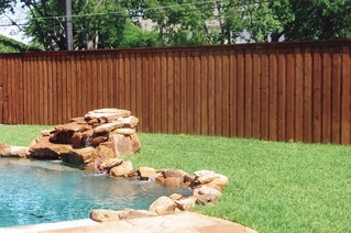 Cedar fence.  Board on board with top cap and trim.  Irving, Texas | by buzzcustomfence