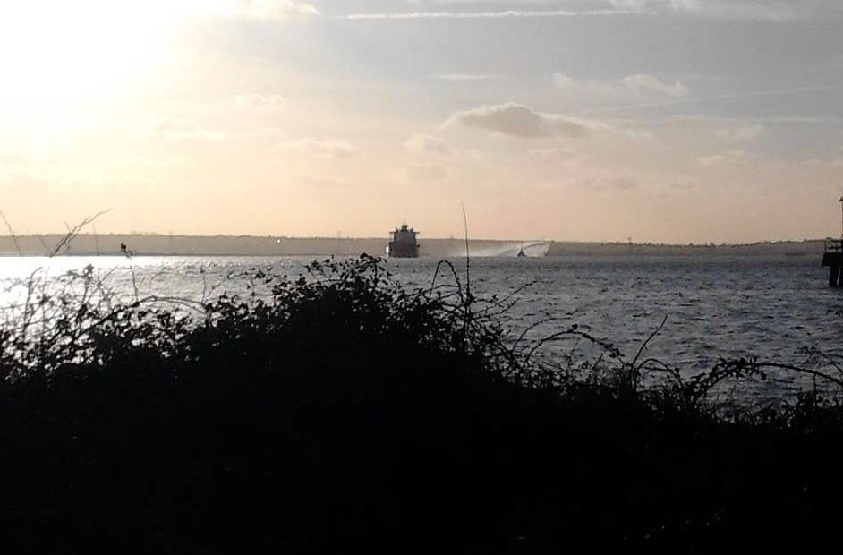 Ship and dredger(?) Higham Circular