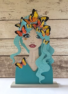 Butterfly beauty- using new #paperbabestamps mdf portrait blanks and #pieridae butterfly set | by Kezzie B