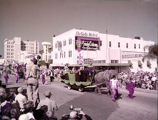 """Circus parade scene filmmed for the """"Greatest Show on Earth,"""" Sarasota, Florida"""