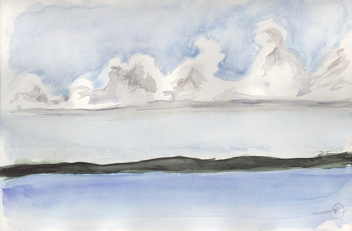 seascape clouds watercolor landscape maine jonesport downeastmaine marciamilnerbrage