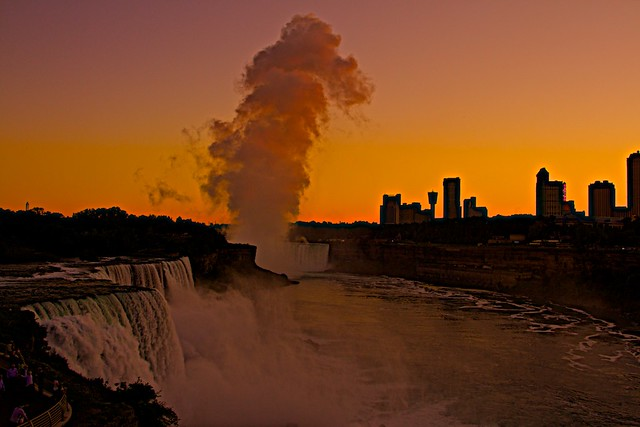 Niagara Falls Sunset- (photo shot from Rainbow Bridge)