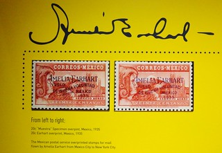 Mexican Postal Service Overprinted Stamps for Mail Flown by Amelia Earhart (1935)