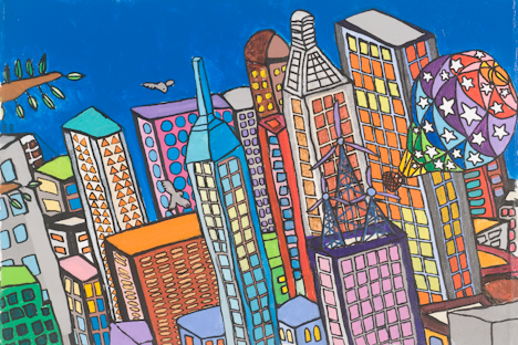"Upper Tribeca with Tree Branch and Hot Air Balloon (16"" x 24"" acrylic on canvas)"