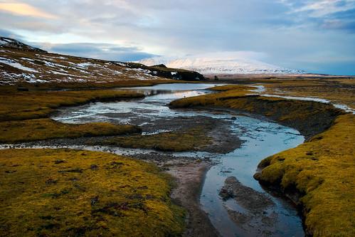 blue sky snow mountains green water grass clouds reflections river landscape flow iceland oru 2014 hvalfjordur vesturland
