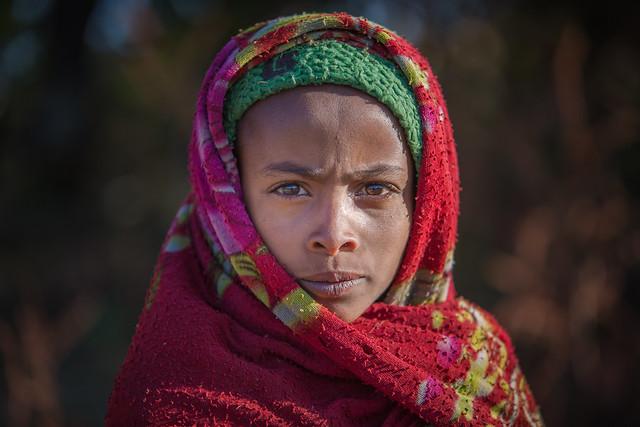 Ethiopie du nord: jeune fille des montagnes du Simien.