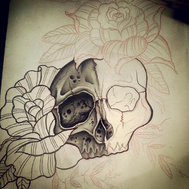 Wip Caveira E Rosas Caveira Skull Rosas Roses Flow Flickr