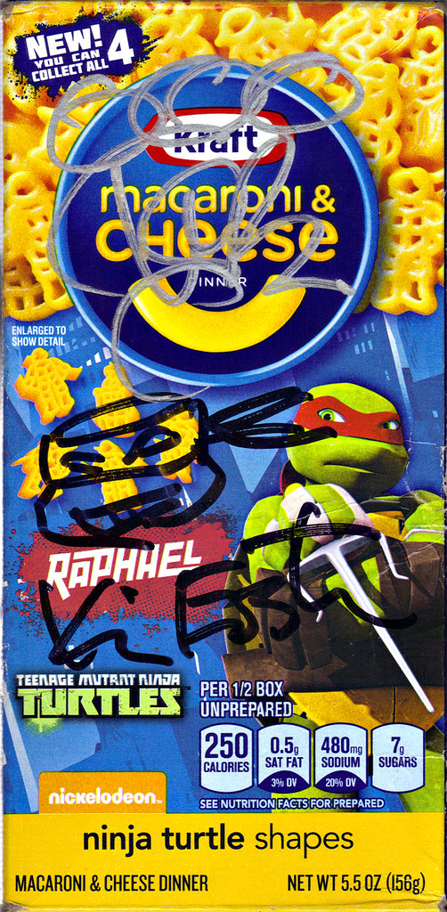 "Kraft Macaroni & Cheese :: ""TEENAGE MUTANT NINJA TURTLES"" Shapes ; ""RAPHAEL"" box iv // ..signed by Kevin Eastman & Vanilla Ice  (( 2014 )) by tOkKa"