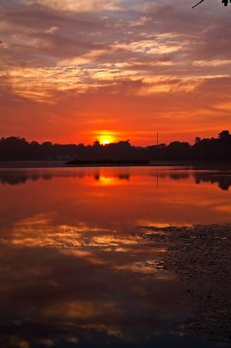 sky clouds sunrise reflections northreading martinspond