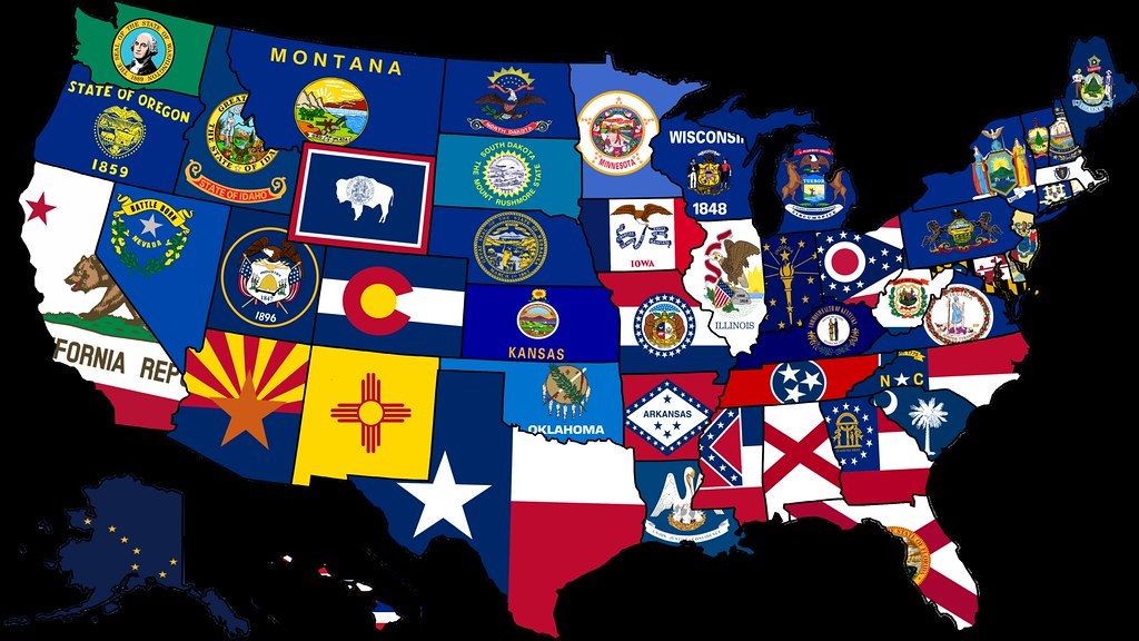 Map Of Usa With The States.Usa State Flag Map Map Of The Usa With Their States Flags