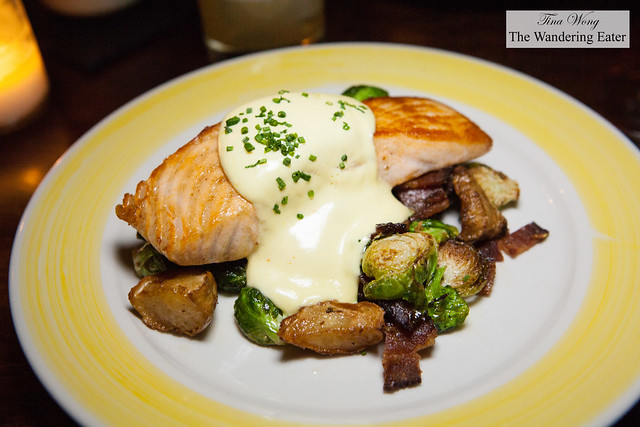 Pan seared salmon with sunchokes, Brussels sprouts and bacon
