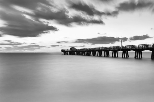 ocean longexposure sea sky blackandwhite seascape monochrome clouds landscape pier dock florida jetty le pompanobeach