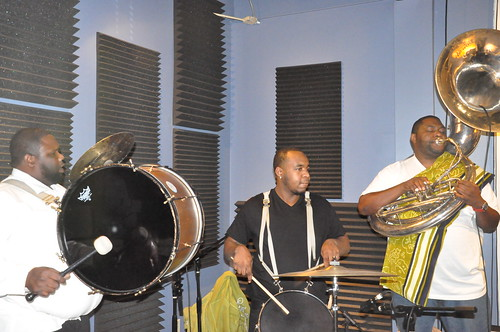 Harry Cook, Errol Marchand, and Bennie Pete of Hot 8 Brass band. Photo by Kichea S Burt.