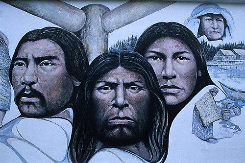 Native Heritage Mural in Chemainus, Cowichan Valley, Vancouver Island, British Columbia, Canada