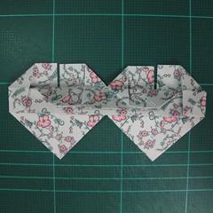 วิธีพับกระดาษรูปหัวใจคู่ (Origami Double Heart)  025