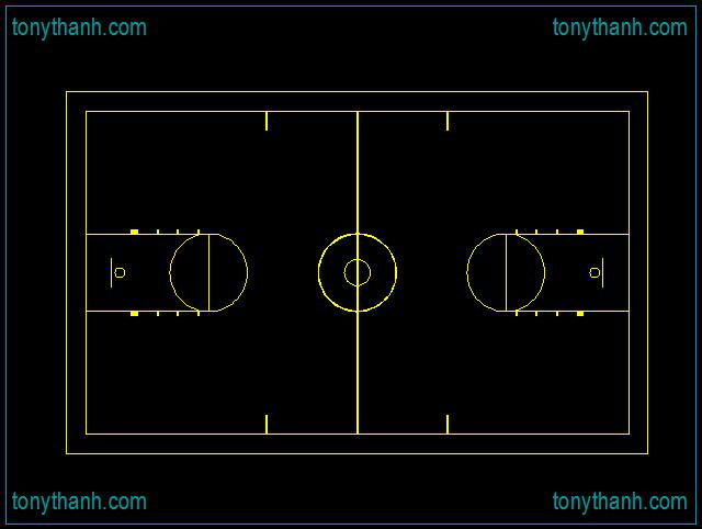 Free cad block basketball court, half basketball court cad