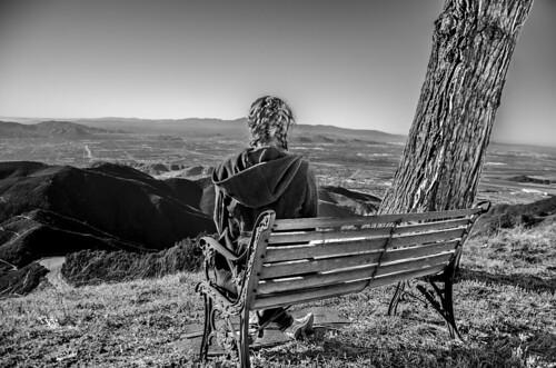 wood bw panorama white mountain black girl bench hair high view dynamic range hdr