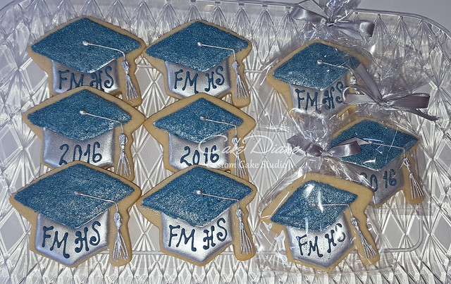 Mortarboard cookies silver and blue glitter