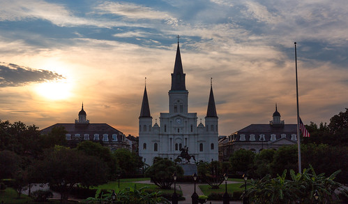 travel sunset summer sky sun church clouds square cathedral dusk south neworleans jackson southern frenchquarter jacksonsquare nola