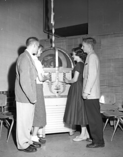 Unidentified high school students at jukebox in Tallahassee, Florida