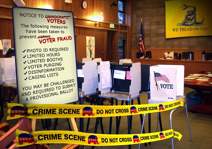 Cartoon - Voter Suppression Crime Scene