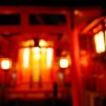 Osaka shrine at night - blurred